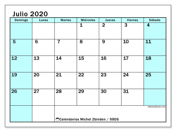 Calendario julio 2020, 59DS. Calendario para el mes para imprimir gratis.