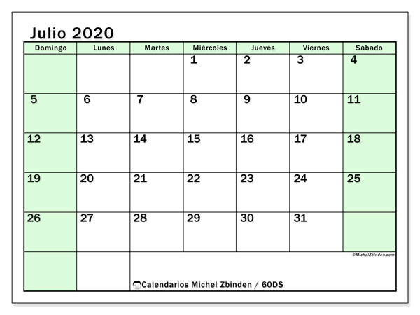 Calendario julio 2020, 60DS. Calendario gratuito para imprimir.