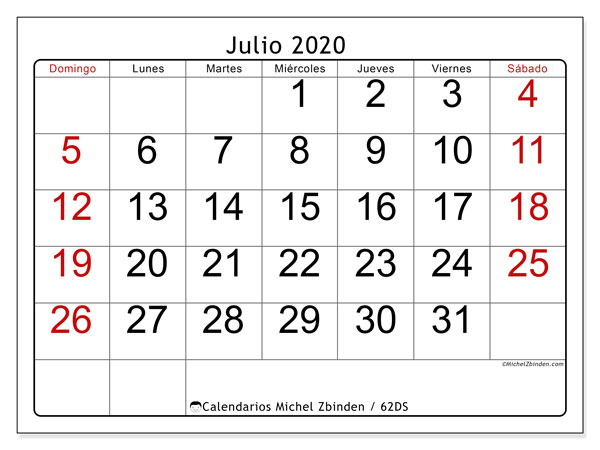 Calendarios julio 2020 - DS, 62