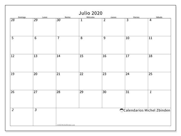 Calendario Mes Julio 2020.Calendario Julio 2020 70ds Michel Zbinden Es