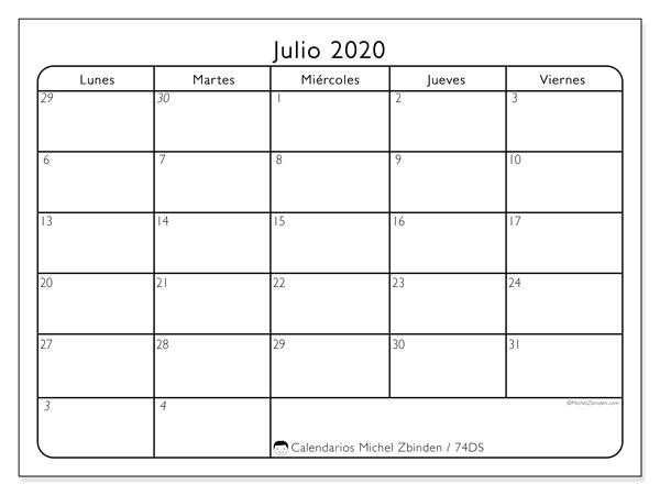 Calendario julio 2020, 74DS. Almanaque para imprimir gratis.