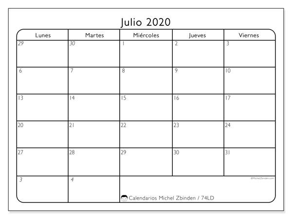 Calendario julio 2020, 74LD. Calendario mensual para imprimir gratis.