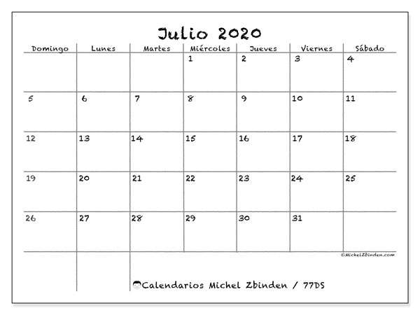 Calendarios julio 2020 - DS, 77