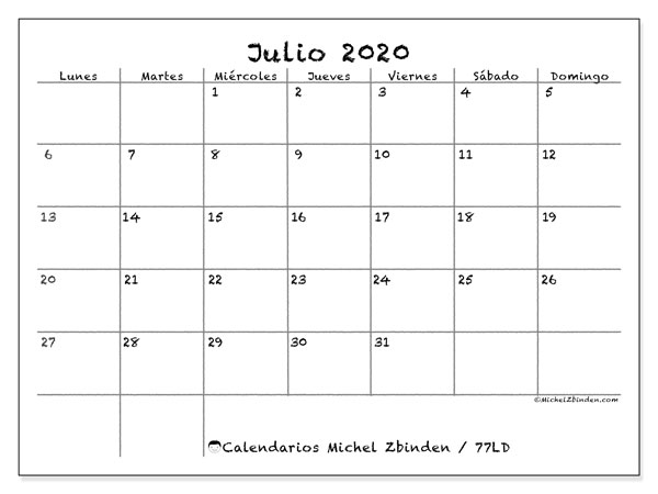 Calendario julio 2020, 77LD. Calendario mensual para imprimir gratis.