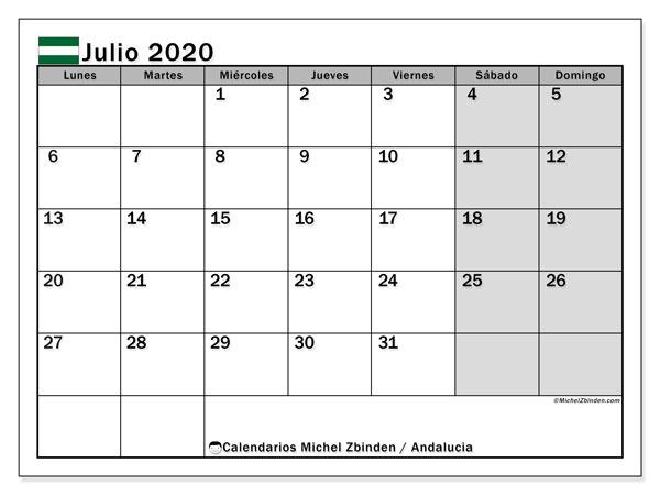 Calendario julio 2020, con días feriados en Andalucía. Calendario vacaciones y festivos para imprimir gratis.