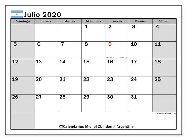 Calendario julio 2020, con los días feriados en Argentina. Calendario para el mes para imprimir gratis.