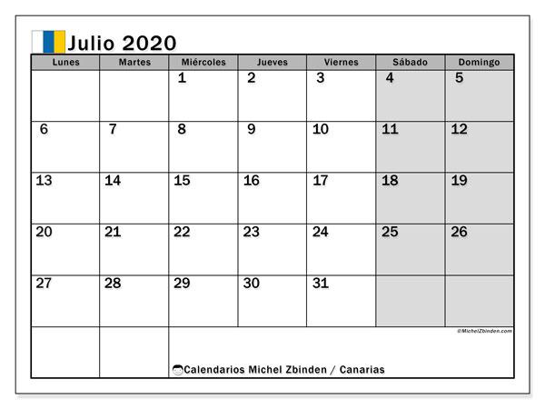 Calendario julio 2020, con días feriados en las Islas Canarias. Calendario para imprimir gratis con días festivos.
