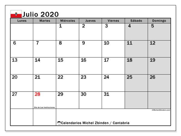 Calendario julio 2020, con días feriados en Cantabria. Calendario para imprimir gratis con días festivos.