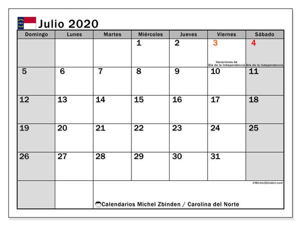 Calendario julio 2020, con días feriados en Carolina del Norte. Calendario para imprimir gratis con días festivos.