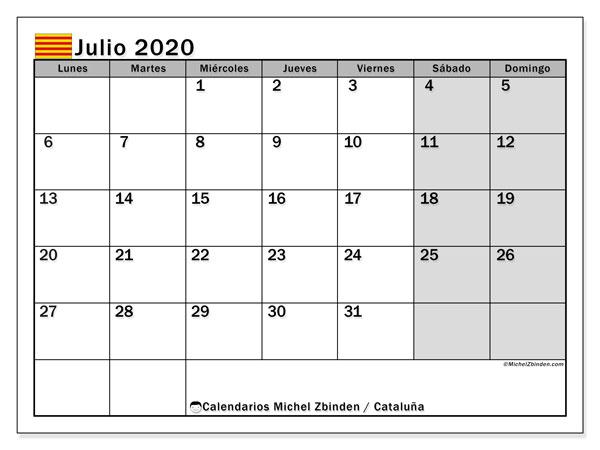 Calendario julio 2020, con días feriados en Cataluña. Calendario vacaciones y festivos para imprimir gratis.