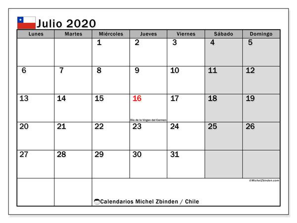 Calendario julio 2020, con días feriados en Chile. Calendario vacaciones y festivos para imprimir gratis.