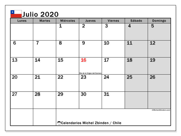 Calendario Julio 2020 Para Imprimir.Calendario Julio 2020 Chile Michel Zbinden Es
