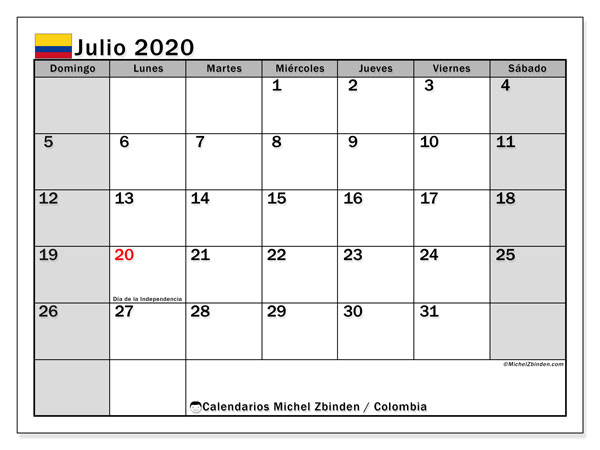 Calendario julio 2020, con días feriados de Colombia. Calendario vacaciones y festivos para imprimir gratis.