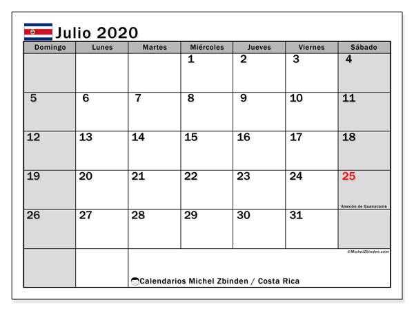 Calendario julio 2020, con días feriados de Costa Rica. Calendario vacaciones y festivos para imprimir gratis.