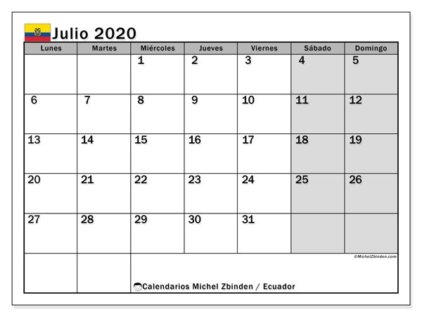 Calendario julio 2020, con días feriados en Ecuador. Calendario vacaciones y festivos para imprimir gratis.