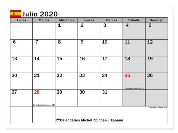 Calendario julio 2020, con días feriados en España. Calendario para imprimir gratis con días festivos.