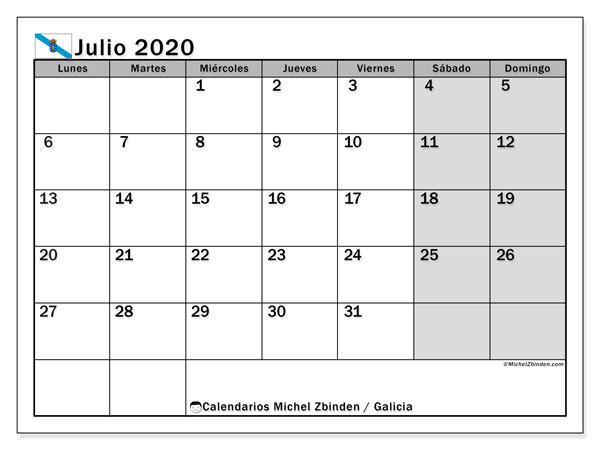 Calendario julio 2020, con días feriados en Galicia. Calendario vacaciones y festivos para imprimir gratis.