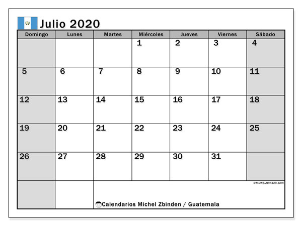 Calendario julio 2020, con días feriados en Guatemala. Calendario para imprimir gratis con días festivos.