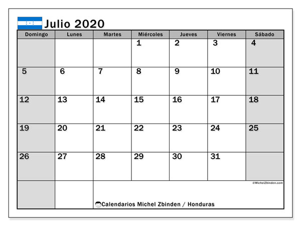 Calendario Honduras con días festivos, julio  de 2020, calendario mensual y Array.