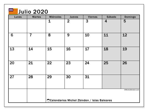 Calendario julio 2020, con días feriados en las Islas Baleares. Calendario para imprimir gratis con días festivos.