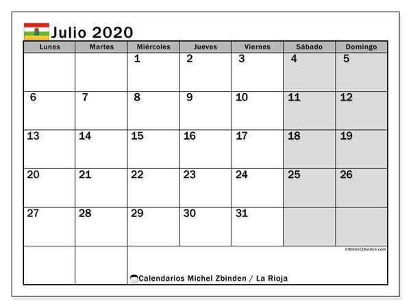 Calendario julio 2020, con días feriados en La Rioja. Calendario vacaciones y festivos para imprimir gratis.