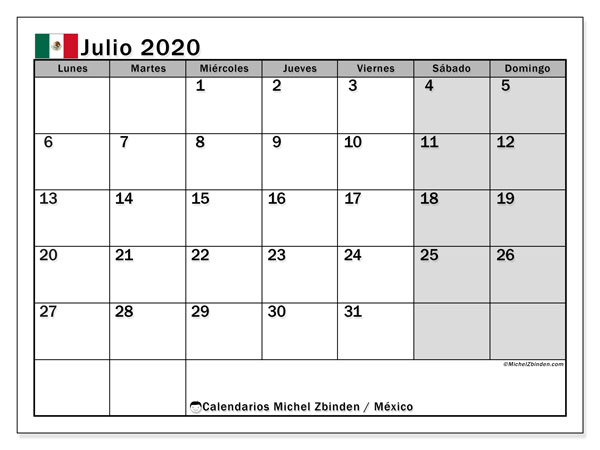 Calendario julio 2020, con los días feriados en México. Calendario imprimible gratis.