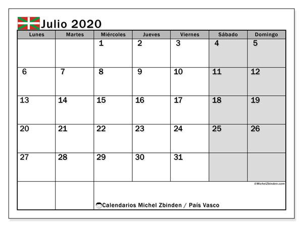 Calendario julio 2020, con días feriados en el País Vasco. Calendario para imprimir gratis con días festivos.