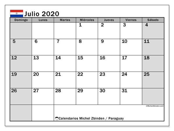 Calendario julio 2020, con días feriados en Paraguay. Calendario para imprimir gratis con días festivos.
