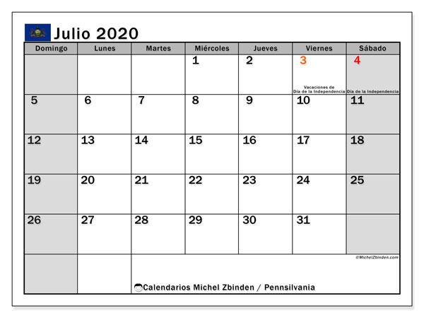 Calendario julio 2020, con días feriados en Pennsilvania. Calendario para imprimir gratis con días festivos.