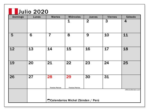 Calendario julio 2020, con días feriados en Perú. Calendario para imprimir gratis con días festivos.