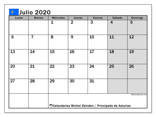 Calendario julio 2020, con días feriados del Principado de Asturias. Calendario vacaciones y festivos para imprimir gratis.