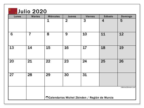 Calendario julio 2020, con días feriados en la Región de Murcia. Calendario para imprimir gratis con días festivos.