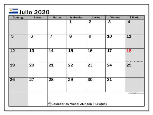 Calendario julio 2020, con días feriados de Uruguay. Calendario para imprimir gratis con días festivos.