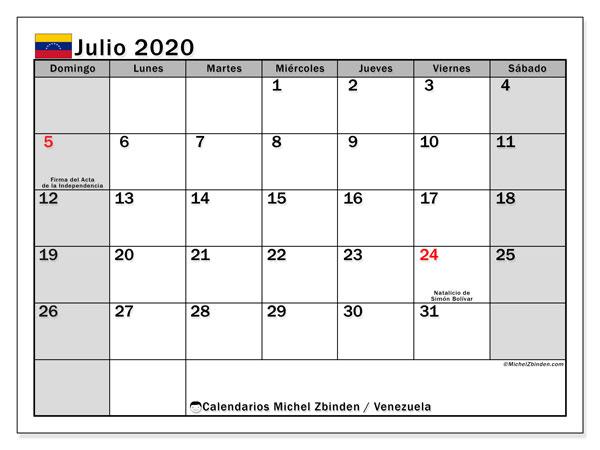 Calendario julio 2020, con los días feriados para Venezuela. Almanaque para imprimir gratis.