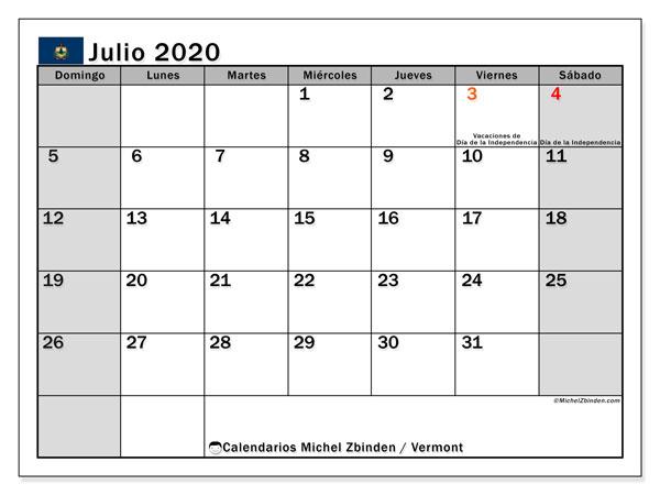 Calendario julio 2020, con días feriados de Vermont. Calendario vacaciones y festivos para imprimir gratis.