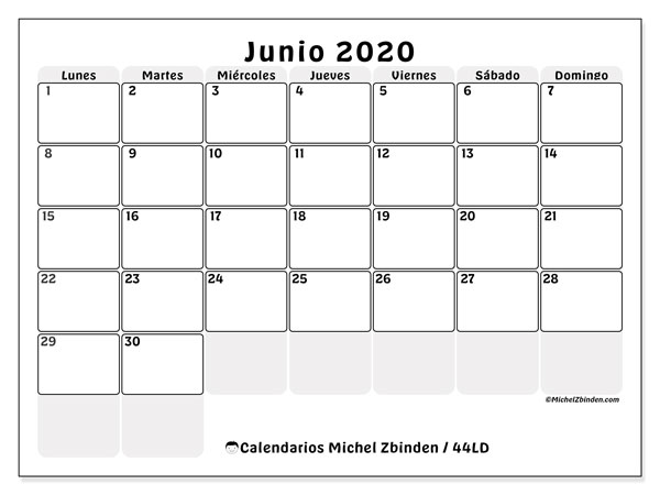 Calendario junio 2020, 44LD. Calendario imprimible gratis.