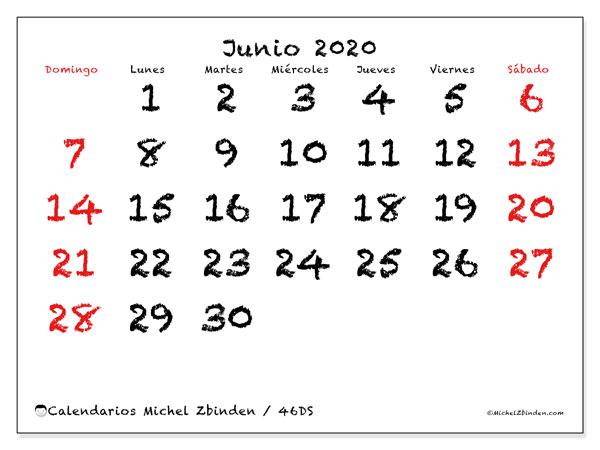 Calendario junio 2020, 46DS. Calendario gratuito para imprimir.