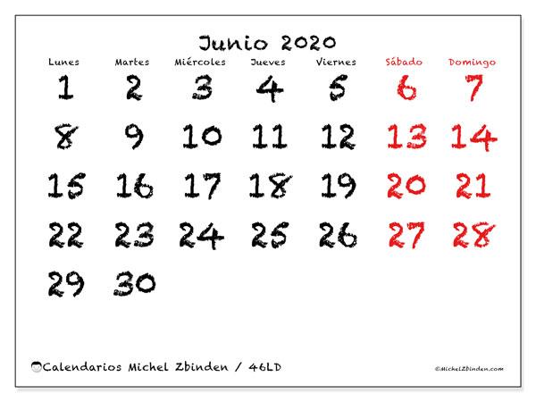 Calendario junio 2020, 46LD. Almanaque para imprimir gratis.