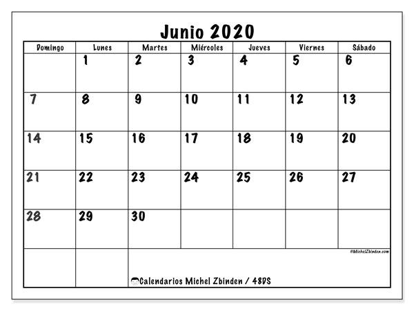 Calendario junio 2020, 48DS. Calendario para el mes para imprimir gratis.