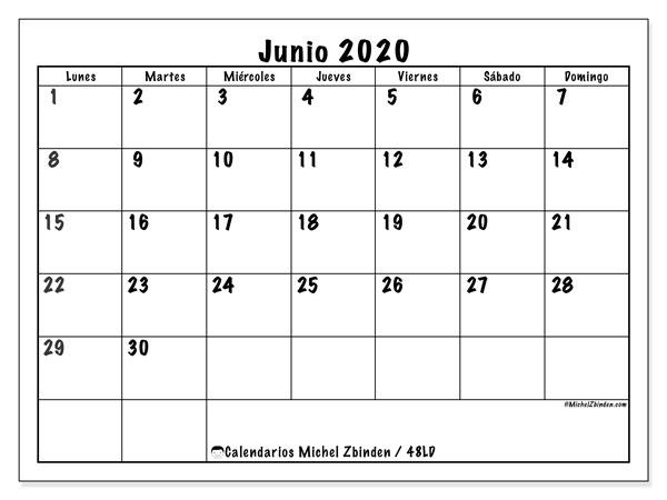 Calendario junio 2020, 48LD. Calendario para el mes para imprimir gratis.