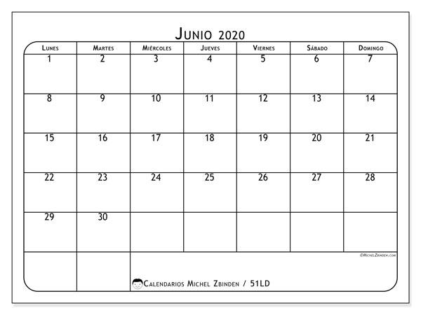 Calendario junio 2020, 51LD. Planificación para imprimir gratis.