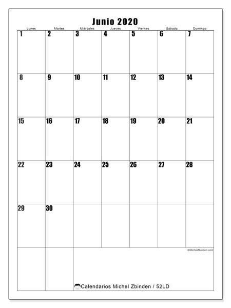 Calendario junio 2020, 52LD. Calendario imprimible gratis.