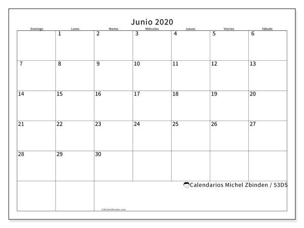Calendario junio 2020, 53DS. Calendario gratuito para imprimir.