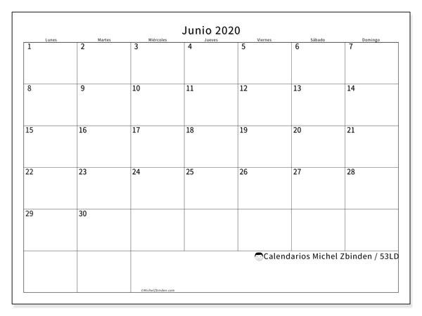 Calendario junio 2020, 53LD. Almanaque para imprimir gratis.