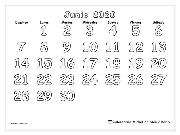 Calendario junio 2020, 56DS. Calendario mensual para imprimir gratis.
