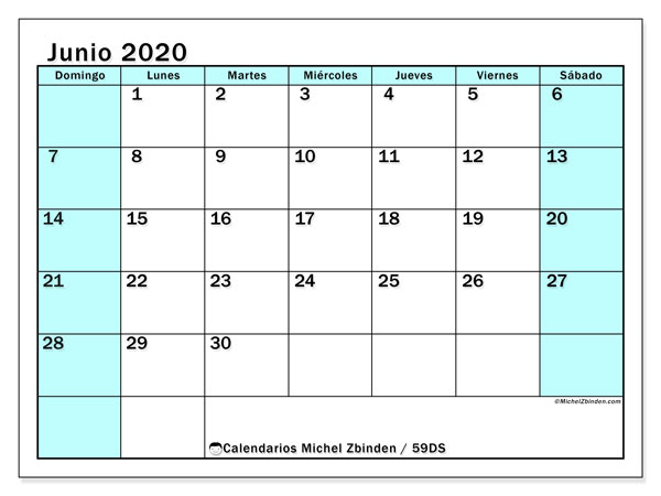 Calendario junio 2020, 59DS. Calendario imprimible gratis.