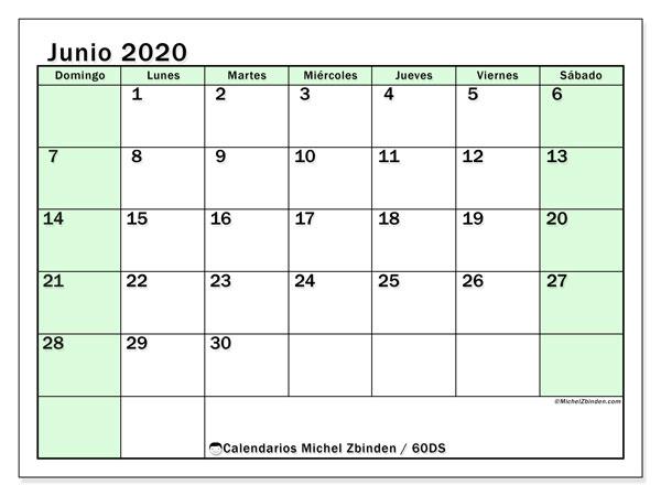 Calendario junio 2020, 60DS. Calendario mensual para imprimir gratis.