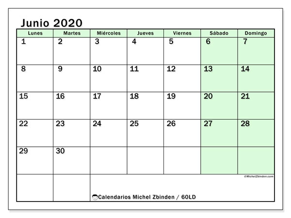 Calendario junio 2020, 60LD. Calendario gratuito para imprimir.