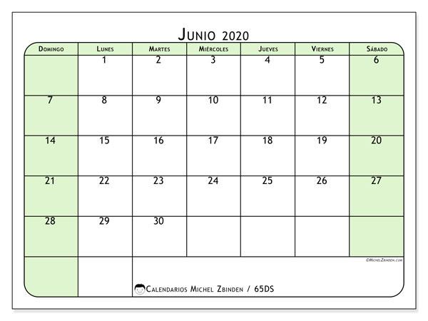 Calendario junio 2020, 65DS. Calendario imprimible gratis.