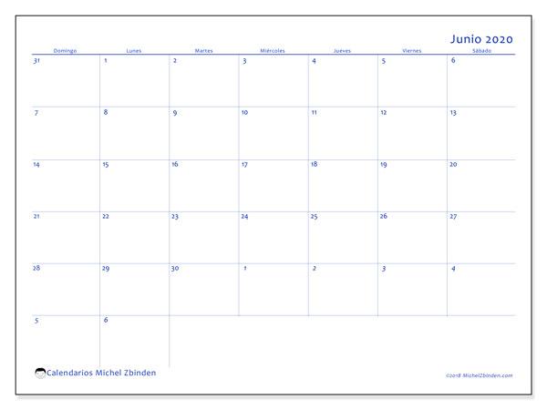 Calendario junio 2020, 73DS. Calendario gratuito para imprimir.